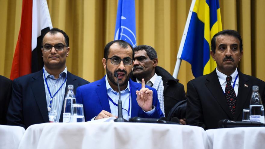 El portavoz de Ansarolá, Muhamad Abdel Salam (centro), ofrece una conferencia de prensa en Suecia, 13 de diciembre de 2018. (Fuente: AFP)
