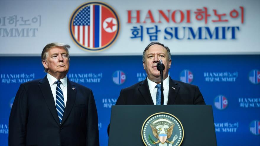 El secretario de Estado de EE.UU., Mike Pompeo, habla en una conferencia de prensa en Hanói, Vietnam, 28 de febrero de 2019. (Foto: AFP)