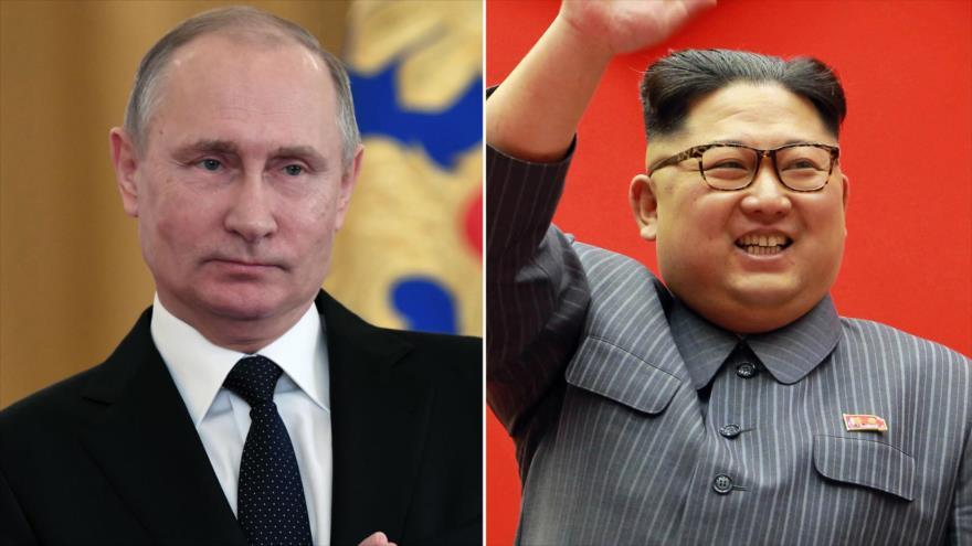 El líder norcoreano, Kim Jong-un (dcha.), y el presidente ruso, Vladimir Putin.