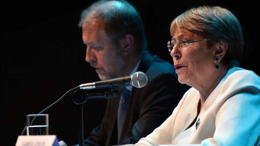La alta comisionada de la ONU para los Derechos Humanos, Michelle Bachelet, en una conferencia de prensa en México, 9 de abril de 2019. (Foto: AFP)