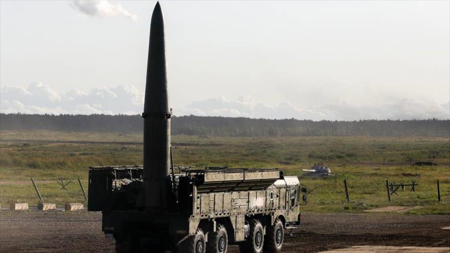 Sistema de misil balístico Iskander-M, de fabricación rusa.