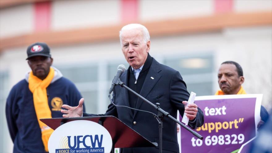 El exvicepresidente de EE.UU. Joseph Biden habla ante un grupo de sindicalistas en Boston, 18 de abril de 209.