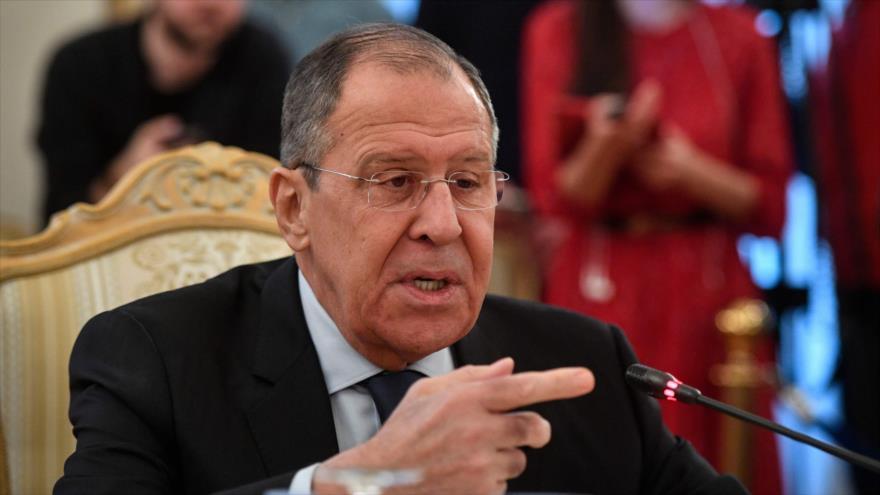 El canciller ruso, Serguéi Lavrov, habla durante un acto en Moscú, 19 de marzo de 2019. (Foto: AFP)