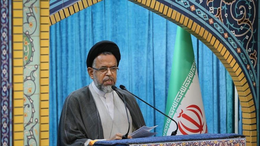 El ministro de Inteligencia iraní, Mahmud Alavi, en declaraciones durante el rezo del viernes en Teherán, la capital del país persa, 19 de abril de 2019. (Fuente: Fars)