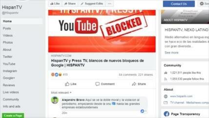 Usuarios condenan bloqueo de HispanTV y Press TV por Google