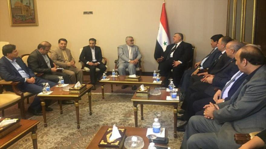 Delegación iraní se reúne con altos funcionarios de Siria en Bagdad, capital de Iraq, 19 de abril de 2019.