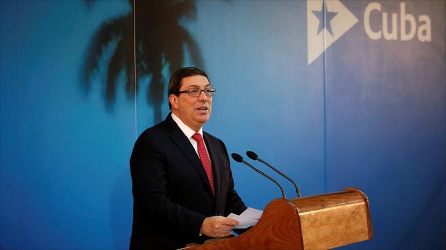 El ministro de Exteriores de Cuba, Bruno Rodríguez, comparece en una rueda de prensa en La Habana, la capital.