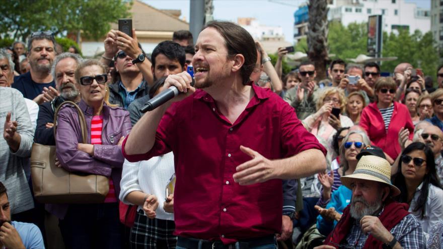 El líder del partido Podemos, Pablo Iglesias, en un mitin en Palma de Mallorca para las elecciones del 28-A, 15 de abril de 2019. (Foto: AFP)