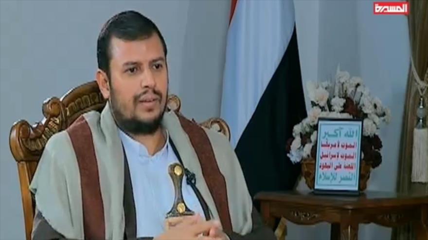 El líder del movimiento popular yemení Ansarolá, Abdulmalik al-Houthi, en una entrevista con la cadena yemení Al-Masirah, 22 de abril de 2019.