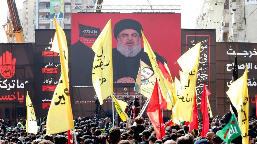Los partidarios del Movimiento de Resistencia Islámica de El Líbano (Hezbolá), se reúnen para conmemorar Ashura en Beirut, 20 de septiembre de 2018.