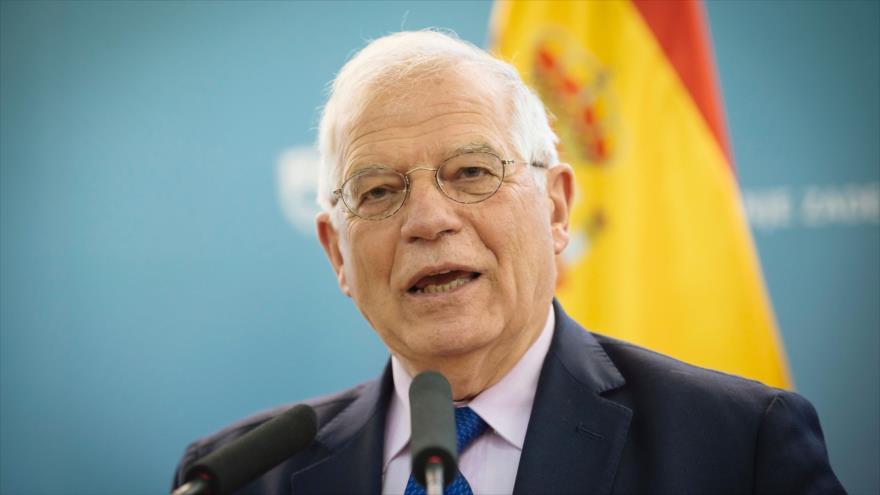El canciller de España, Josep Borrell, asiste a una rueda de prensa en Liubliana, capital eslovena, 9 de abril de 2019. (Foto: AFP)