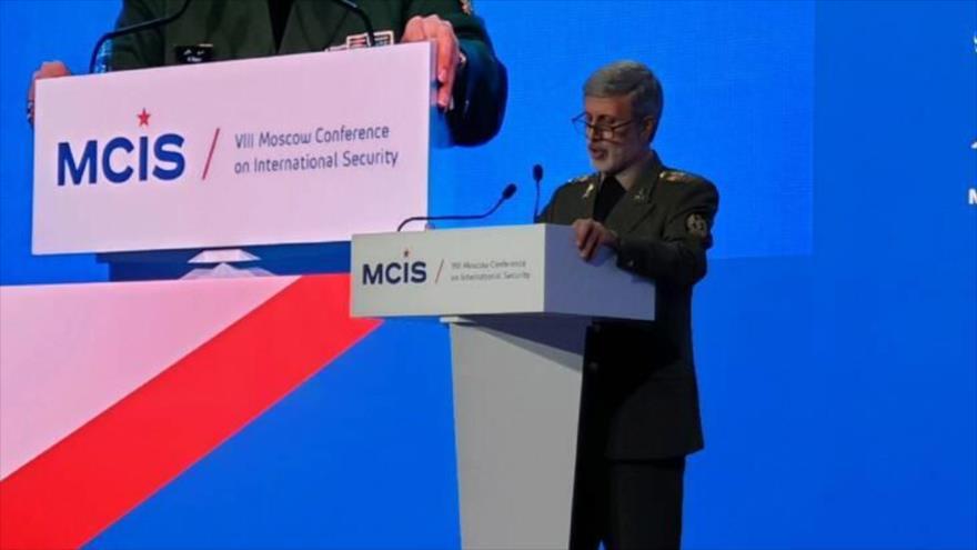 El ministro de Defensa iraní, Amir Hatami, ofrece discurso en la Conferencia de Seguridad Internacional de Moscú, 24 de abril de 2019.