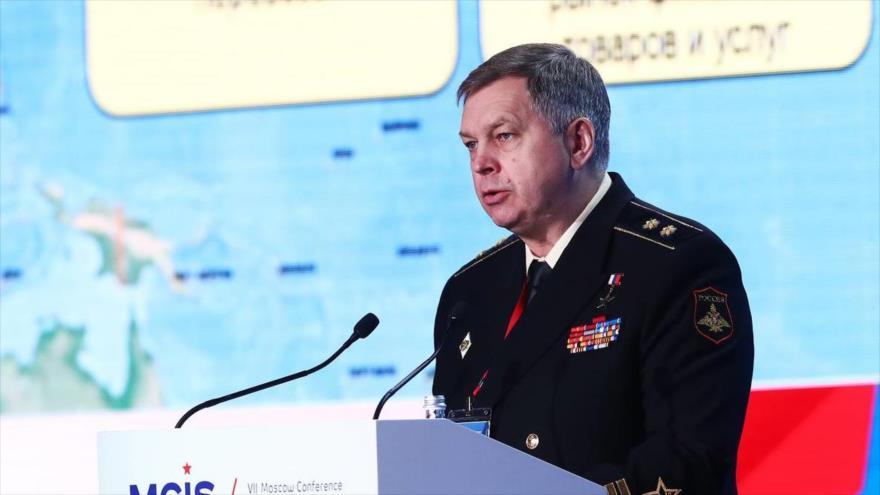 El jefe adjunto del Departamento Central de Inteligencia de Rusia (GRU), Ígor Kostiukov, habla en la VII Conferencia de Seguridad Internacional de Moscú.