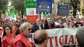 Manifestación antifascista por el Día de la Liberación en Italia