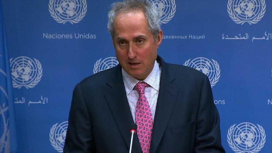 El portavoz de la ONU, Stephane Dujarric, ofrece un discurso ante la Organización de las Naciones Unidas.