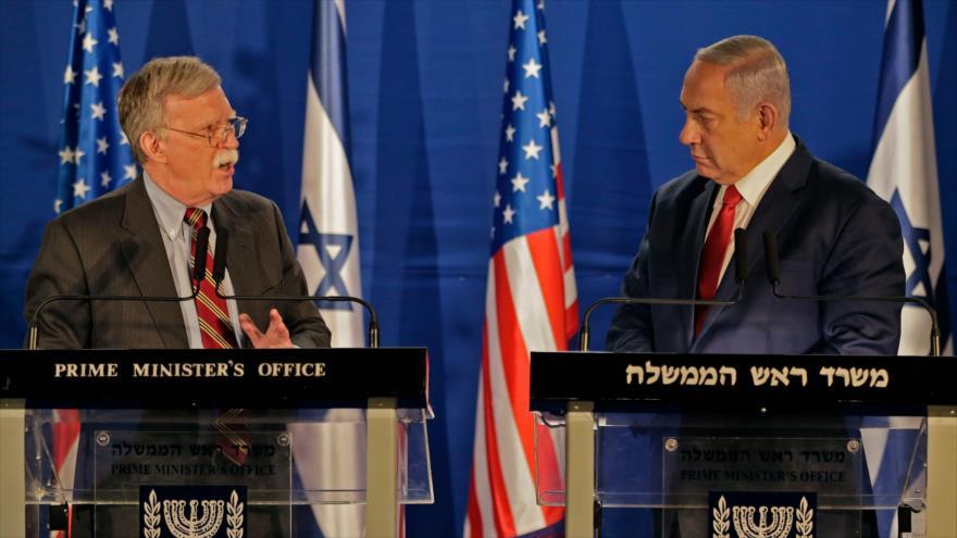 El asesor de Seguridad de EE.UU., John Bolton (izda.), y el premier israelí, Benjamín Netanyahu, en Al-Quds (Jerusalén), 6 de enero de 2019. (Foto: AFP)