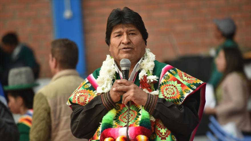 El presidente Evo Morales, durante un acto en la ciudad boliviana de Totora, 27 de abril de 2019. (Foto: AFP)