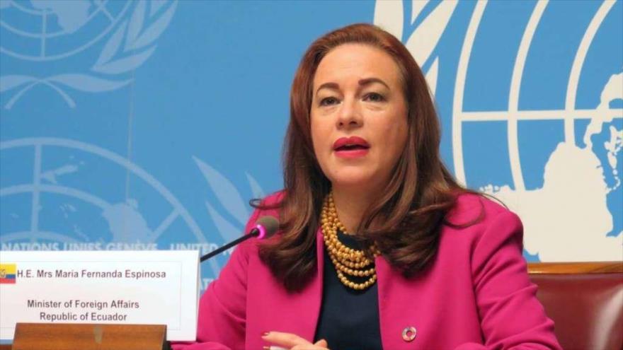 La presidenta de la Asamblea General de la ONU (AGNU), María Fernanda Espinosa.