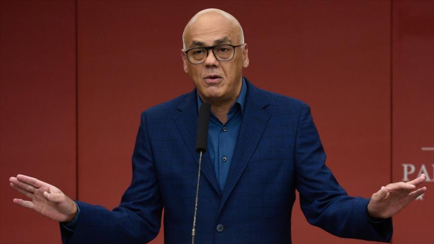 El ministro venezolano del Poder Popular de la Comunicación y la Información, Jorge Rodríguez, Caracas, 12 de marzo de 2019. (Foto: AFP)