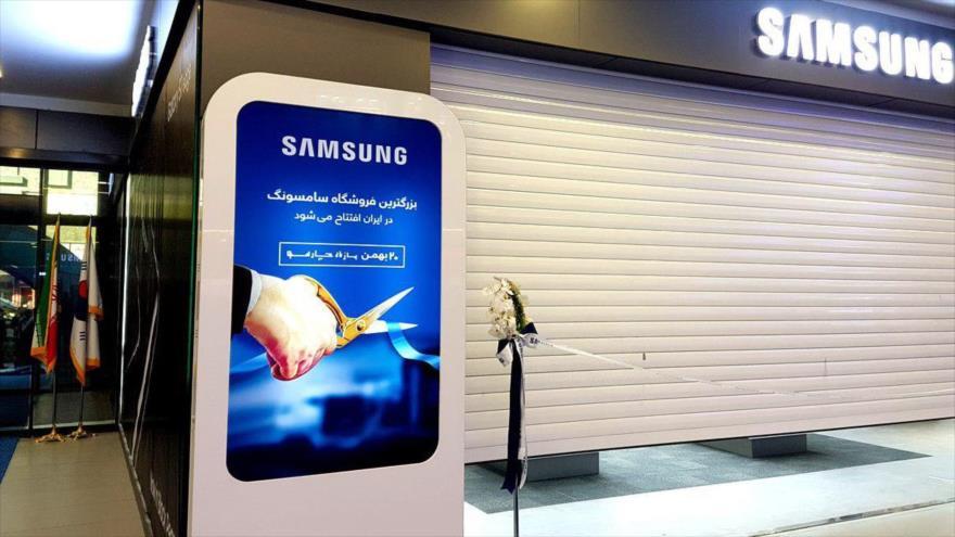 Una tienda de la compañía surcoreana Samsung a punto de inaugurarse en Teherán, capital iraní.