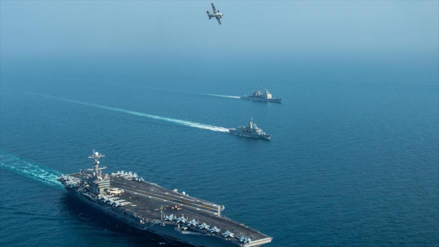 Fuerza Naval de EE.UU. participa en una maniobra conjunta en el Golfo Pérsico, 16 de enero de 2019. (Foto: AFP)