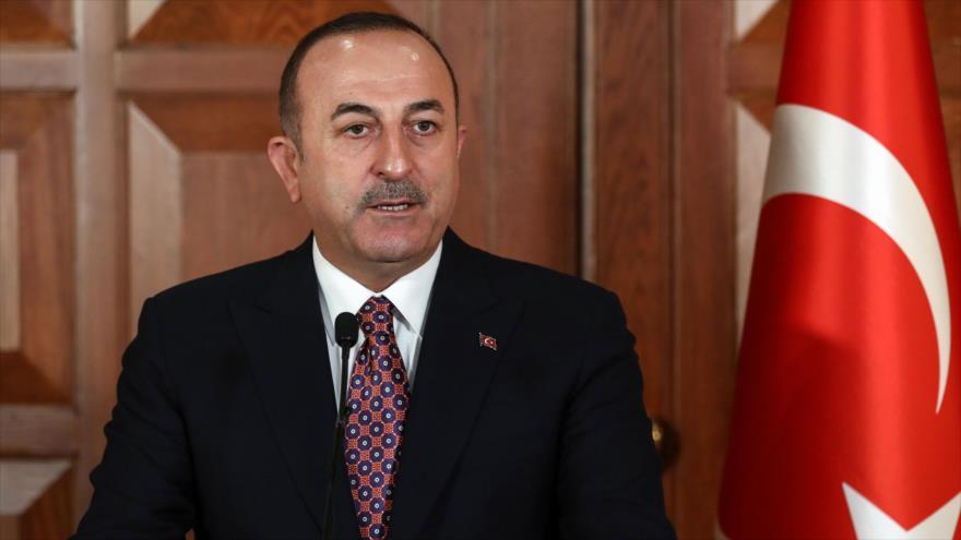 El canciller turco, Mevlut Cavusoglu, en una conferencia de prensa en Ankara, capital de Turquía, 2 de mayo de 2019. (Foto: AFP)