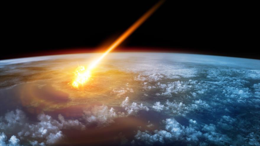 Representación gráfica del impacto de un asteroide contra la Tierra.