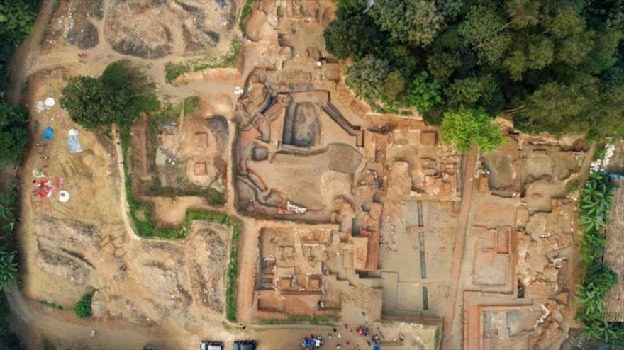 Una vista general del sitio arqueológico de Nateshwar, ubicado en el distrito de Munshiganj (Bangladés).