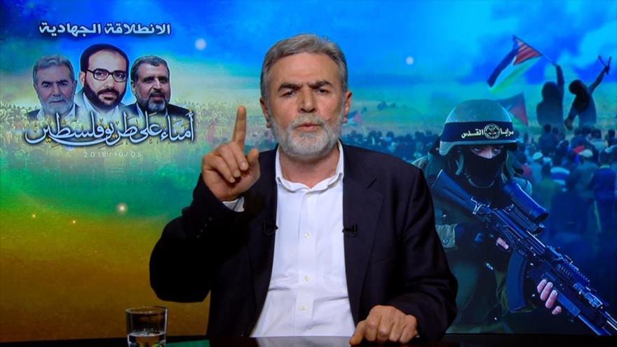 El secretario general de la Yihad Islámica Palestina, Ziad al-Najala, pronuncia un discurso televisado.