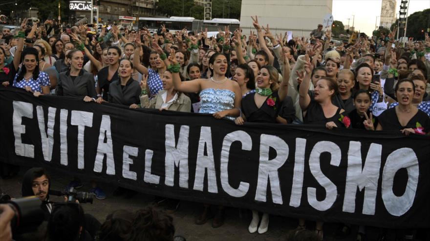 Una manifestación en Buenos Aires con motivo del centenario de Eva Duarte de Perón, 6 de mayo de 2019 (Foto: AFP)