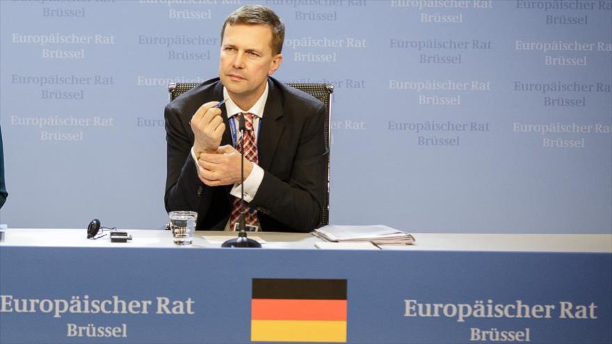 El portavoz del Gobierno alemán, Steffen Seibert, en una conferencia en Bruselas.