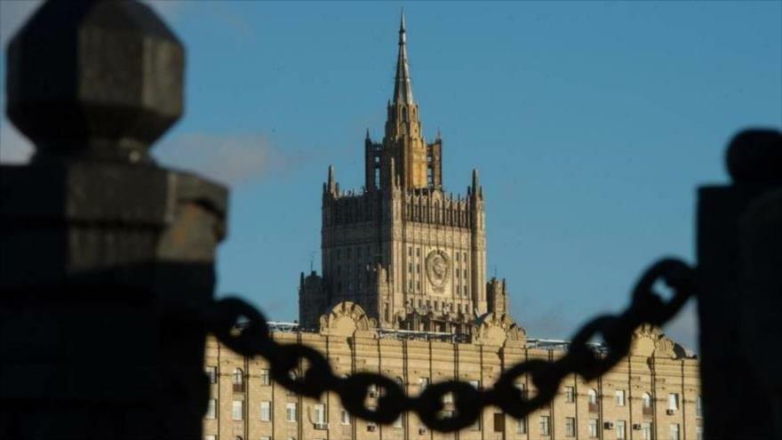 Fachada del edificio del Ministerio de Asuntos Exteriores de Rusia en Moscú, la capital.