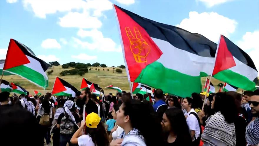 Palestinos marchan en el 71.º aniversario de creación de Israel