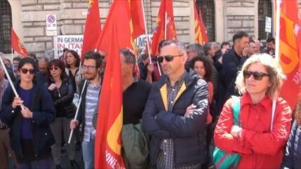 Trabajadores de sistema público italiano protestan contra Gobierno