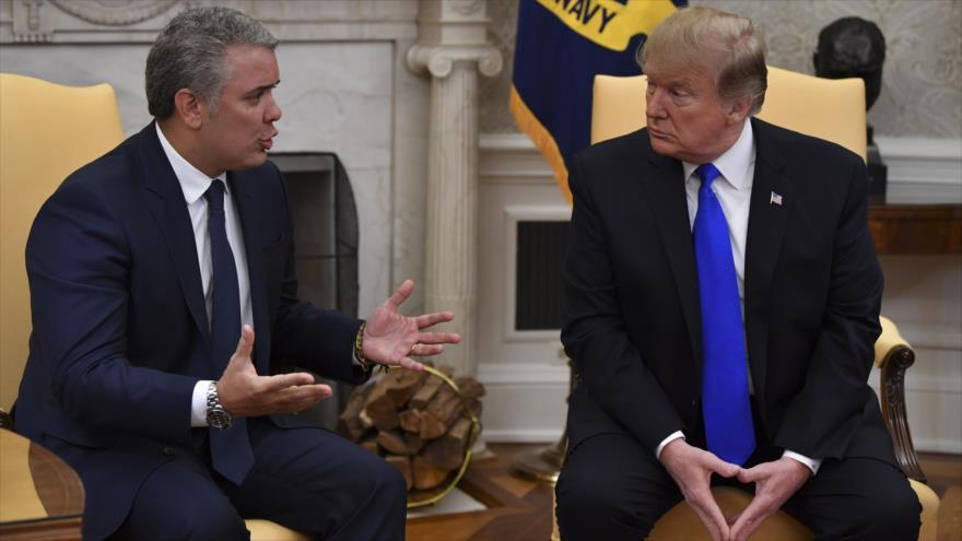 Los presidentes de EE.UU. y Colombia, Donald Trump (dcha.) e Iván Duque, respectivamente, en la Casa Blanca, 13 de febrero de 2019. (Foto: AFP)