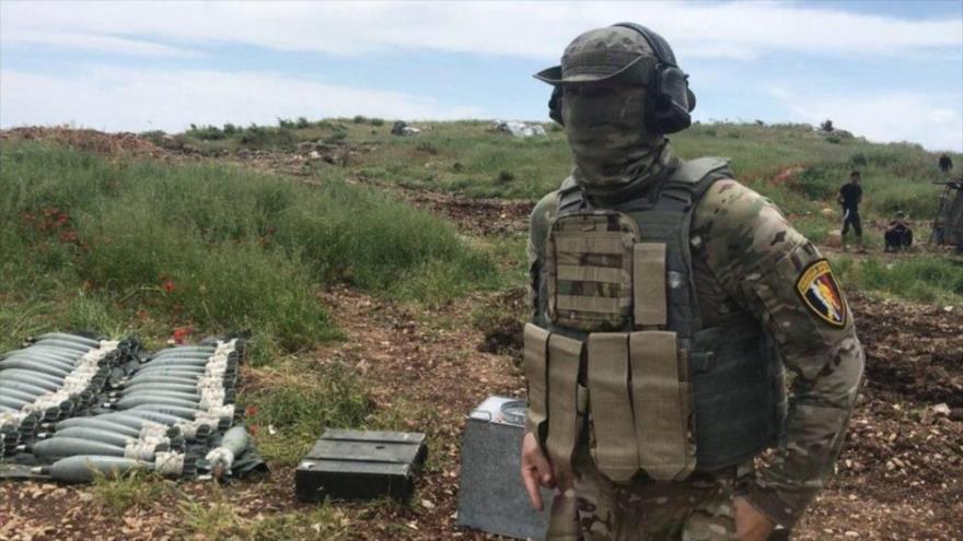 Un agente de las fuerzas especiales de Rusia que participa en las operaciones del Ejército sirio en la provincia de Hama.