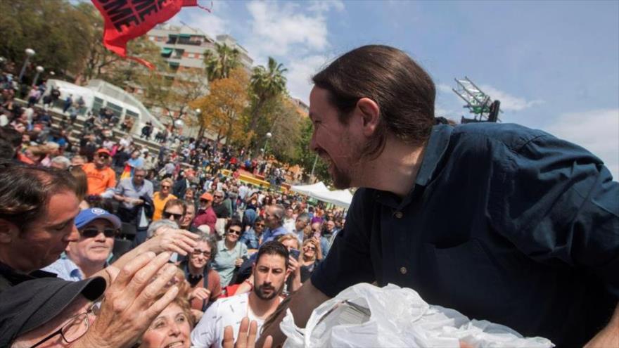 El líder de Unidas Podemos, Pablo Iglesias, interviene en un acto organizado por los comunes. (Foto: EFE)