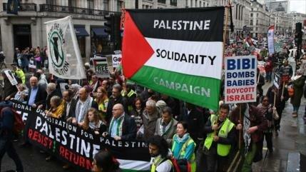 Protestan en Londres en el 71.º aniversario de creación de Israel