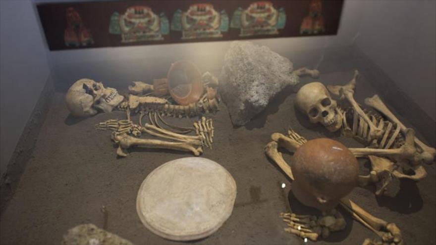 Esqueletos de españoles sacrificados en el museo de Zultépec-Tecoaque, en México.