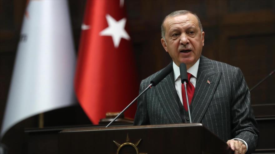 El presidente de Turquía, Recep Tayyip Erdogan, en la Gran Asamblea Nacional de Turquía en Ankara, capital, 7 de mayo de 2019. (Foto: AFP)