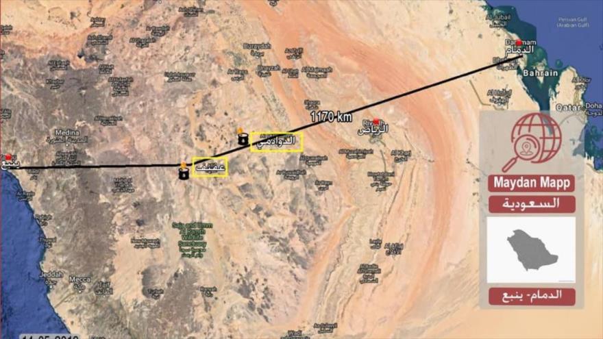 Localidades de Al-Duwadimi y Afif, donde dos estaciones de bombeo de petróleo para el oleoducto este-oeste saudí fueron alcanzadas por drones yemeníes.