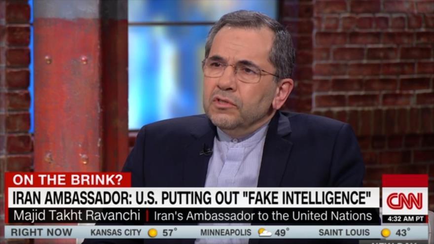 Mayid Tajt Ravanchi, representante de Irán ante la Organización de las Naciones Unidas (ONU), durante una entrevista con la cadena estadounidense CNN, 14 de mayo de 2019.