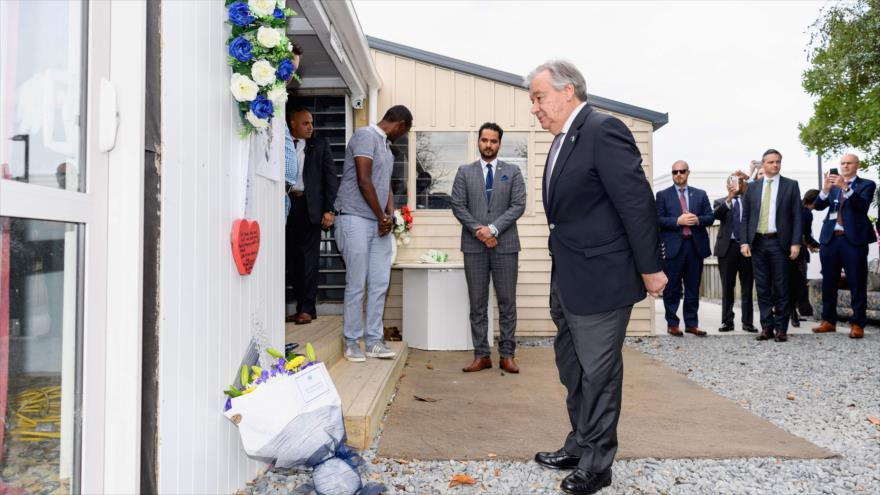 El secretario general de la ONU, António Guterres rinde homenaje a víctimas de atentados en Nueva Zelanda, 14 de mayo de 2019.