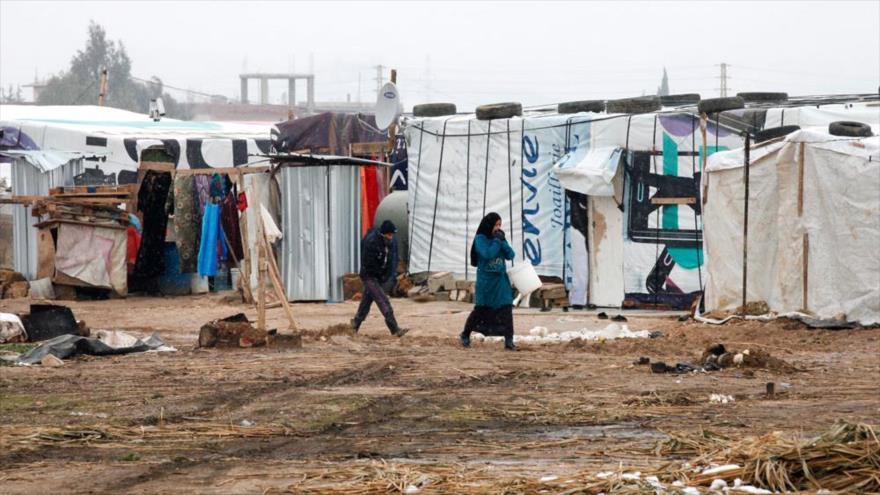 Refugiados palestinos en un campamento en El Líbano.