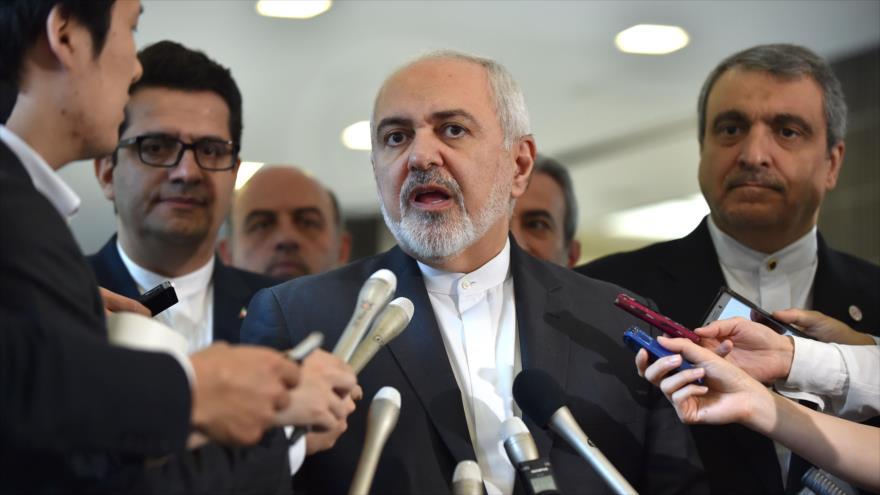 El canciller de Irán, Mohamad Yavad Zarif, responde a los reporteros en Japón, 16 de mayo de 2019. (Fuente: AFP)
