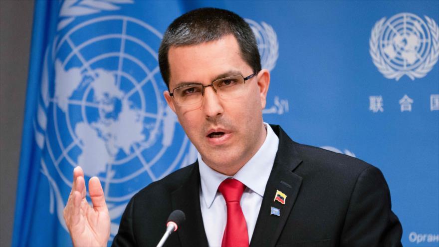 El canciller de Venezuela, Jorge Arreaza, habla en una conferencia de prensa en las Naciones Unidas, Nueva York, 25 de abril de 2019. (Foto: AFP)