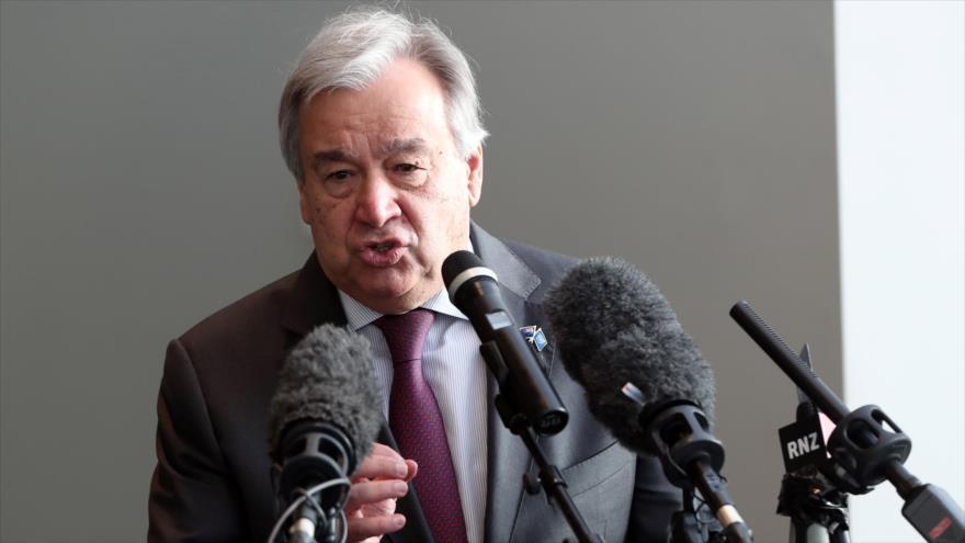El secretario general de la Organización de las Naciones Unidas (ONU), Antonio Guterres, en un discurso en Nueva Zelanda, 13 de mayo de 2019. (Foto: AFP)