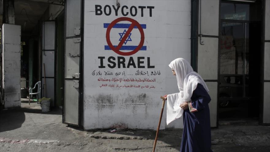 Un cartel antisionista pintado en una pared en la ocupada Cisjordania.