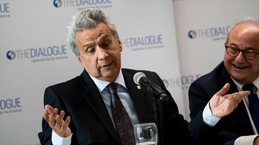 El presidente de Ecuador, Lenín Moreno, en una sesión del centro Diálogos Interamericanos en Washington, 16 de abril de 2019. (Foto: AFP)
