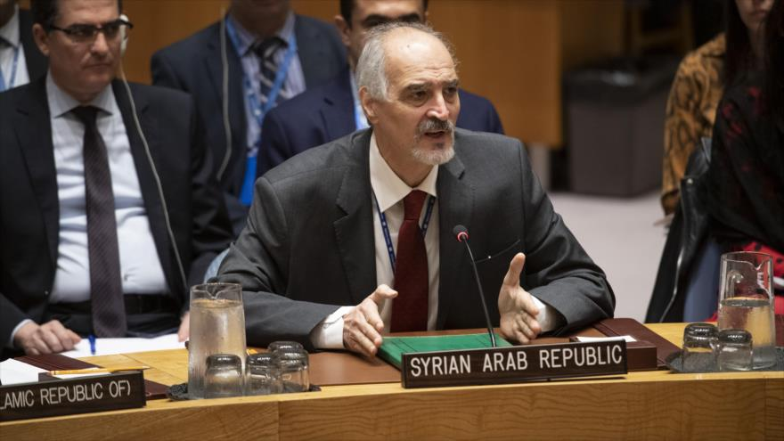 El representante sirio ante las Naciones Unidas, Bashar al-Yafari, en una sesión del CSNU, 17 de mayo de 2019. (Foto: Naciones Unidas)